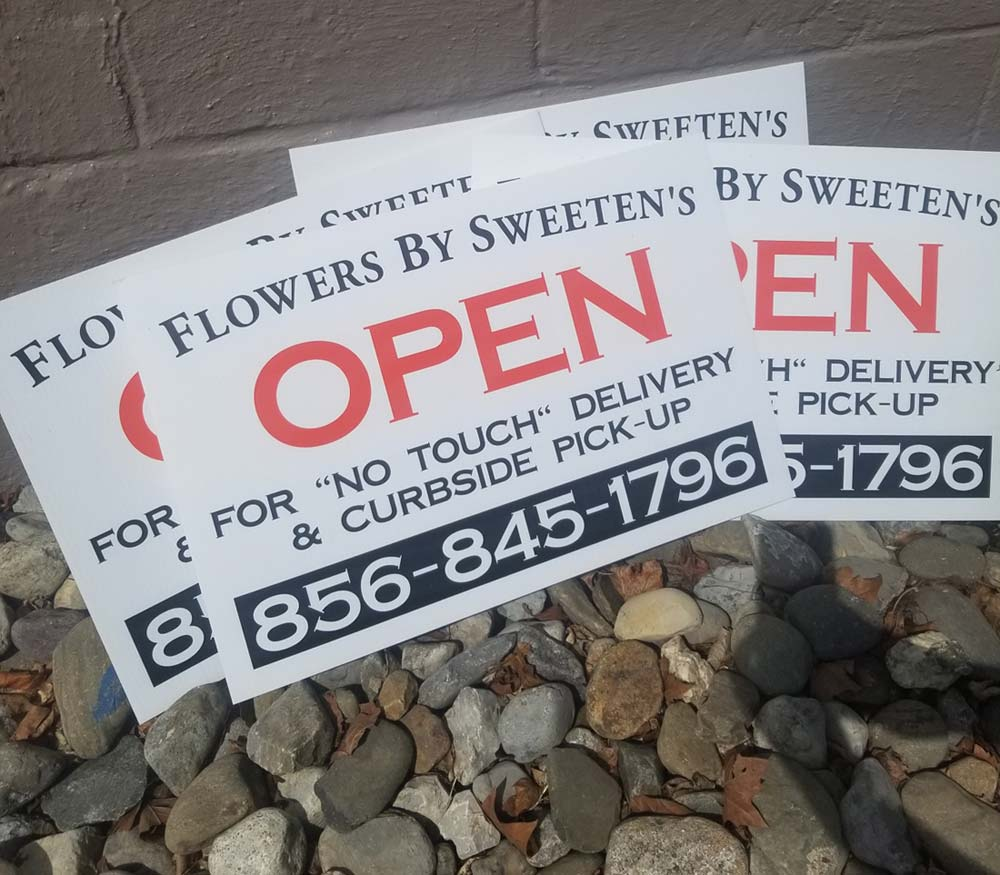 Open sign for Flowers by Sweetens