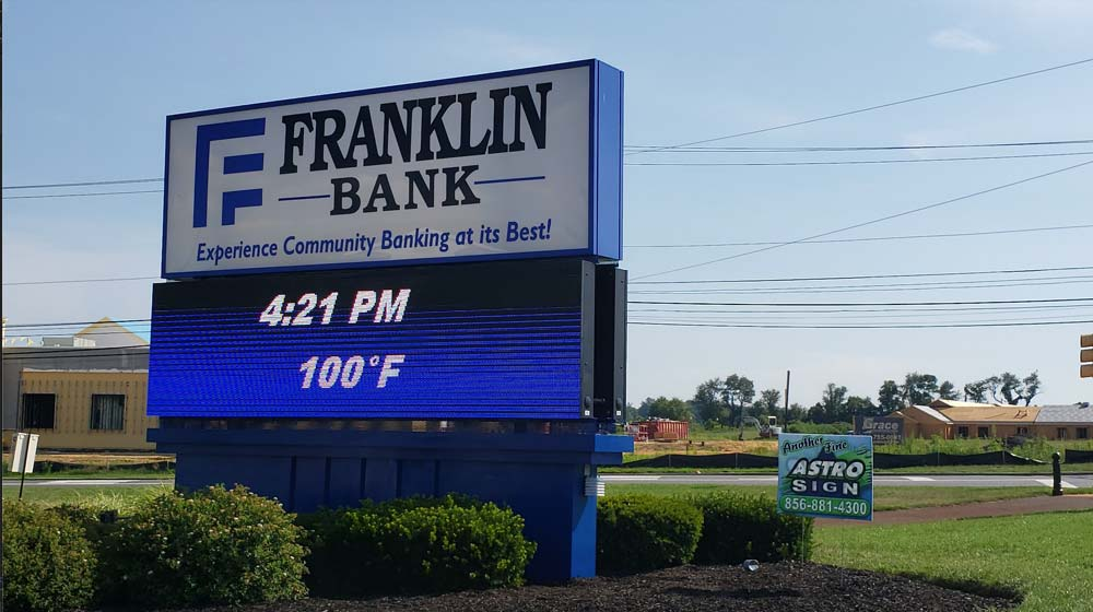 Franklin Bank LED sign with time and temperature displayed