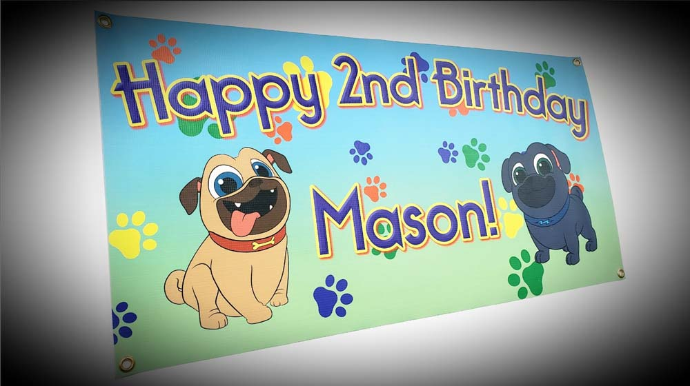 Happy 2nd Birthday Mason with two dogs sign on white wall