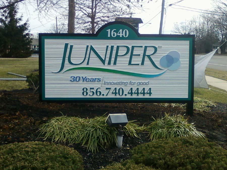 Juniper sandblast sign