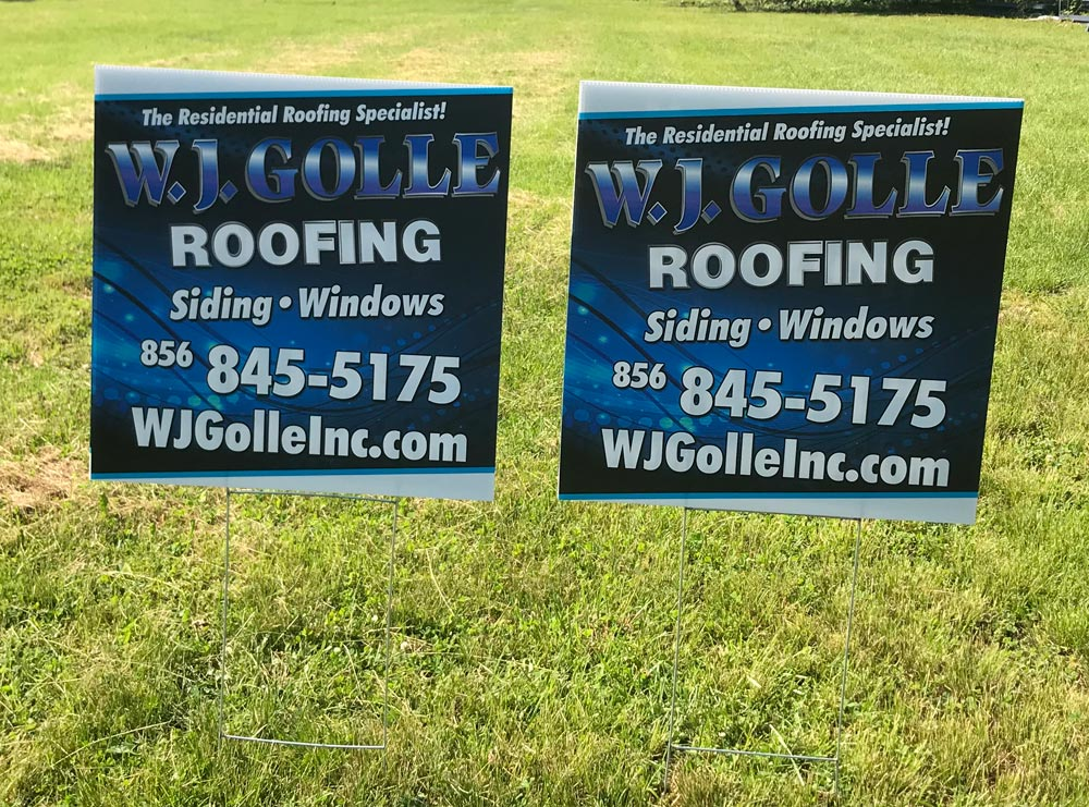 W.J. Golle Roofing sign