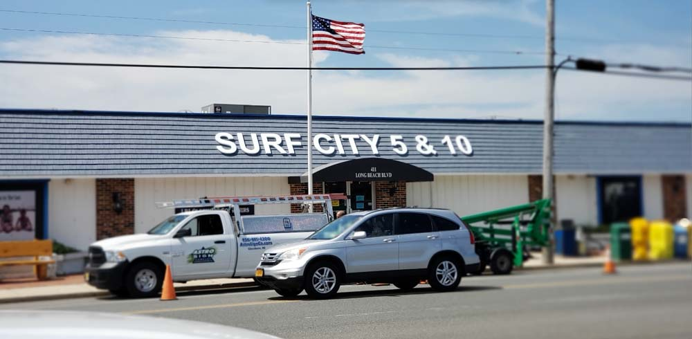 Surf City 5&10 white store letters