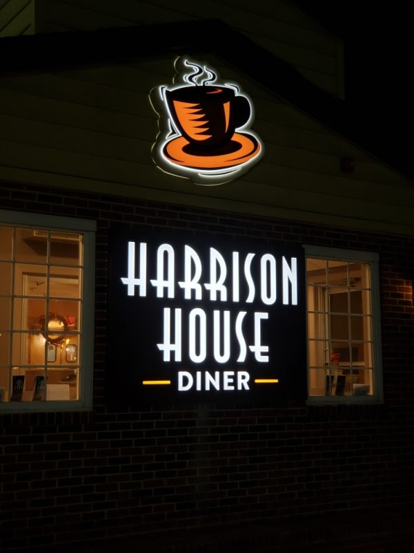Harrison House Diner at night